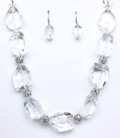 Amazon.com: Sparkles Fashion Necklace - Clear Necklace and Earring SET / Metal Casting / Acrylic / Fire Ball / 20 Inch Long / Nickel and Lead Compliant / - Dangle Drop Statement Wedding Jewelry: Jewelry