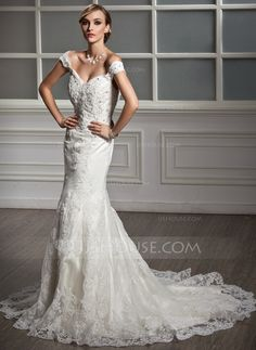 Wedding Dresses - $216.99 - Mermaid Off-the-Shoulder Chapel Train Satin Tulle Wedding Dress With Lace Beadwork (002011499) http://jjshouse.com/Mermaid-Off-The-Shoulder-Chapel-Train-Satin-Tulle-Wedding-Dress-With-Lace-Beadwork-002011499-g11499