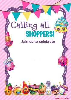 Cool FREE Printable Shopkins Birthday Invitation Template Free - Blank shopkins birthday invitations
