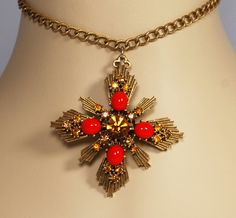 Coro Rhinestone Glass Maltese Cross Necklace by EmbellishgirlVintage on Etsy https://www.etsy.com/listing/170405176/coro-rhinestone-glass-maltese-cross