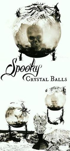 Learn how to make these spooky crystal balls and other scary decorations using Dollar Tree Halloween items ad DollarTree Spooky Halloween, Dollar Tree Halloween Decor, Halloween Mignon, Fairy Halloween Costumes, Dollar Store Halloween, Halloween Items, Halloween Projects, Holidays Halloween, Vintage Halloween