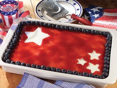 White star cutouts make this Fourth of July Cheesecake stand out on the patriotic holiday dessert table. See for yourself why it gets five-star reviews!
