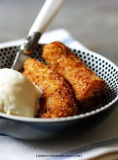 Easy Coconut Ice Cream with Coconut Crumbed Bananas by Citrus and Candy, via Flickr