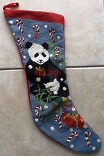 "NeedlePoint Christmas Stocking ""Panda"" 22"" long"