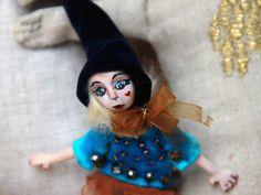 Tiny dolls Klara - Small art doll brooch Klara- Handmade brooch doll  - Paper clay brooch Klara- Dolls miniatures -Christmas gift for girls by DovileDolldeco on Etsy