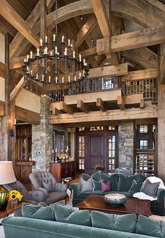 Love the ceiling beams, not so much the blue velvet couches :/