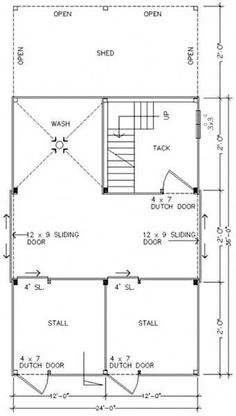 Barn floor plan...except I really don't think it's necessary for me to have a wash area...I would much rather have a third horse stall or a feed room.