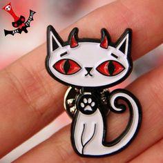 Soft enamel pin albino cat demon white kitty by camamiel on Etsy