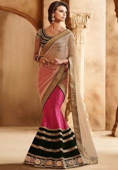 Off #White Net and Satin #LehengaStyleSaree with Blouse