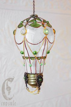 Decorative Ornament Frost White Stained Glass Light Bulb Hot Air Balloon with Green Cabochons Holiday Christmas by CapsuleCreations on Etsy