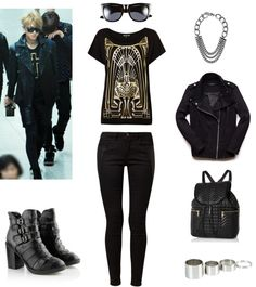 [Requested by Anonymous] Outfit inspired by Exo's Tao, Airport Fashion More Outfit on I Dress Kpop Get The Look : Boots Sunglasses Printed Shirt Black Pants Chunky Necklace Leather Jacket Leather Backpack Ring Set  To look more feminine, you can replace the plants with a faux leather skirt.