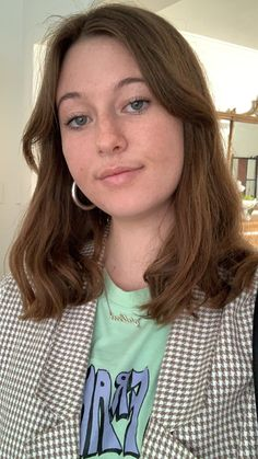 Girl fashion street style gold hoops graphic tee mint lilac blazer checked blazer Checked Blazer, Gold Hoops, Lilac, Graphic Tees, Girl Fashion, Mint, Street Style, Photo And Video, Hair