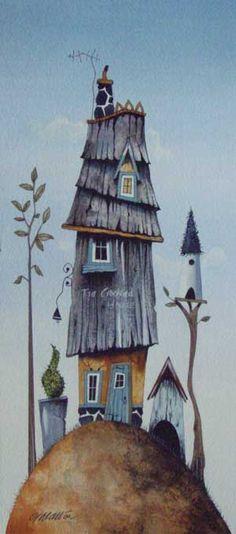 Gary Walton watercolour 'The Crooked House'