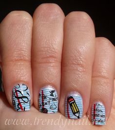 Trendy Nail: Nail stamping tutorial: Back to school
