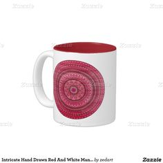 Intricate Hand Drawn Red And White Mandala Two-Tone Coffee Mug