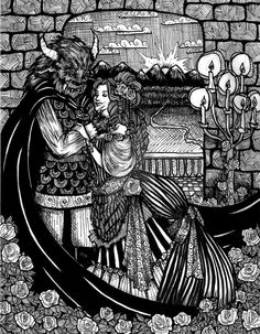Beauty and the Beast by Ithelda.deviantart.com on @DeviantArt Rose Petals Falling, Beauty And The Beast Art, Fantasy Drawings, Unusual Gifts, Colouring Pages, Faeries, Traditional Art, Adulting, Art Images