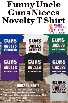 You'll love our funny novelty t-shirt for yourself, but our shirts also make great gifts. Got an uncle or a friend who is an uncle? Get him this t shirt. He'll love it.  Discover our other novelty shirts and so much more today! https://www.dailyoffersandsteals.com/collections/unisex-t-shirts/products/funny-uncle-guns-nieces-novelty-t-shirt