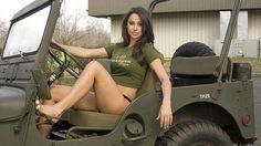 Australian hot girl on a cool hunting jeep! | BikesBabesAndRides.com