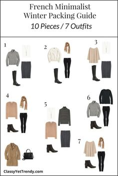 French Minimalist Winter 2017 Packing Guide Outfits fashion french winter French Minimalist Winter Travel Packing Guide - Classy Yet Trendy Winter Travel Packing, Europe Travel Outfits, Travel Wardrobe, Winter Travel Outfit, Packing Outfits, Travel Capsule, Capsule Wardrobe Casual, French Capsule Wardrobe, Paris Packing