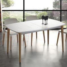 table extensible moderne avec de solides jambes de bois Nurse
