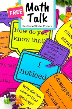 What better way to banish math anxiety than with these FREE Math Talk Poster Prompts! Perfect for Back-to-school bulletin boards! Math Activities For Kids, Math For Kids, Math Resources, Classroom Resources, Math Worksheets, Classroom Ideas, Math Stations, Math Centers, Teacher Freebies