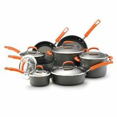 Rachael Ray Hard Anodized II Nonstick Dishwasher Safe 14-Piece Cookware Set, Orange #RachaelRay #RachaelRayHardAnodized $204.99