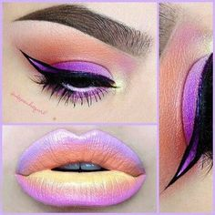 Perfect multicolor lip and eye ombre - #eyeombre #ombrelips #ombreeyes #eyemakeup #eyeart #lipart - bellashoot.com