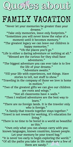 Quotes about family vacation  <br> Looking for family travel quotes to get inspired for more adventures with kids? Check this list with 30+ best family trip quotes to read. Family Vacation Quotes, Best Family Quotes, Vacation Humor, Best Travel Quotes, Family Travel, Family Vacations, Vacation Travel, Funny Vacation Quotes, Old Memories Quotes