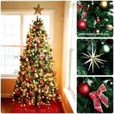 The perfect and simple, traditional Christmas tree decorations.  Green, Gold, Red.  Christmas tree idea. www.duvalreynolds.com by lola