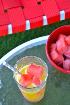 Watermelon Ice Cubes & Fresh Pineapple Juice
