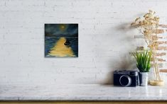 Midnight seascape Poster by Iulia Paun Thing 1, Canvas Home, Seascape Paintings, Modern Landscaping, All Poster, Online Art Gallery, Wall Art Decor, Fine Art America, Pop Art