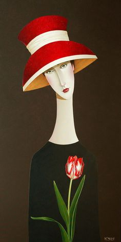 """"""" Madelyn and the Tulip """", by Danny McBride🌹 Art Journal Inspiration, Painting Inspiration, Danny Mcbride, Naive Art, Fabric Painting, Cool Artwork, Figurative Art, Unique Art, Female Art"""
