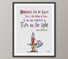 Happiness Can Be Found  Harry Potter Quote Watercolor Nursery Art Print Art Home Wizard illustration Wedding Gift Wall Hanging [NO 368]