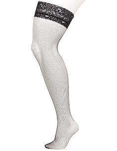 b92353ee5a2 Let your legs steal the spotlight with these hot fishnet thigh-highs!  Totally sexy