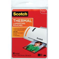 """Scotch Photo-Size Thermal Laminating Pouches, 5mm, 7.25"""" x 5-3/8"""", 20-Pack"""