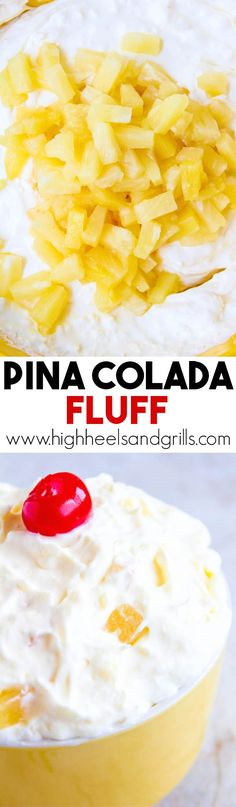 Pina Colada Fluff – Whipped topping, vanilla yogurt, coconut pudding, coconut flakes, and DOLE Canned Fruit make this dessert a total dream! @DolePackaged #ad