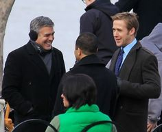 George Clooney and Ryan Gosling on the set