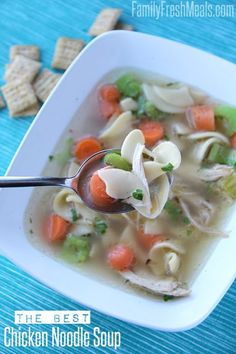 The Best Homemade Chicken Noodle Soup Crockpot Recipes, Soup Recipes, Chicken Recipes, Cooking Recipes, Recipies, Healthy Recipes, Best Chicken Noodle Soup, Chicken Soup, My Favorite Food