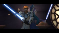 I thought it would be pretty cool to see what Duchess Satine Kryze would look like if she were a Jedi. Jedi Masters Obi-Wan Kenobi and Satine Kryze Obi Wan, Star Wars Klone, Duchess Satine, Satine Kryze, Asoka Tano, Mandalorian Armor, Best Mysteries, Stars, Movies