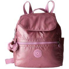 Kipling Ellaria Backpack (Metallic Pink Plum Stripe) Backpack Bags ($114) ❤ liked on Polyvore featuring bags, backpacks, pink backpack, stripe backpack, pink pouch, metallic backpack and draw string pouch