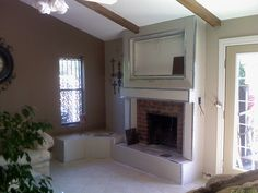 Fireplace being drywalled over during construction