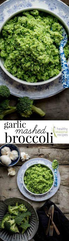 Garlic Mashed Broccoli, a easy vegan side dish. Healthy Seasonal Recipes #vegan #glutenfree #lowcarb #broccoli