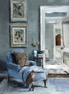Blue Chaise with Vase and Flowers (Interiors painting) ~~ by David Lloyd