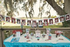 i love the idea of the red wagon 1 year old party... and the banner of a pic of the babe of honor every month! EEEEEk too cute!