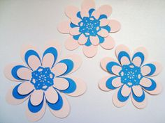 Large pink and blue paper flowers layered 3 pieces by Wcards, $1.80
