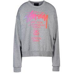 Stussy Sweatshirt ($55) ❤ liked on Polyvore featuring tops, hoodies, sweatshirts, light grey, long sleeve tops, stussy sweatshirt, cotton sweatshirt, long sleeve sweatshirt and long sleeve cotton tops