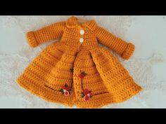 How to crochet doll winter dresses Crochet Doll Dress, Crochet Barbie Clothes, Knitted Dolls, Knit Or Crochet, Cute Crochet, Easy Crochet Patterns, Crochet Designs, Winter Dresses, Winter Baby Clothes