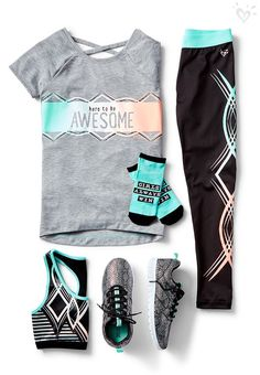 Awesome activewear pieces that go the distance. Win style points in made-to-match tees, sports bras and leggings. Awesome activewear pieces that go the distance. Win style points in made-to-match tees, sports bras and leggings. Cute Sporty Outfits, Sport Outfits, Kids Outfits, Fall Outfits, Fall Dresses, Summer Outfits, Tween Fashion, Sport Fashion, Fashion Outfits