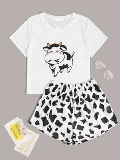 Shop Cartoon Cow Print Tee With Shorts PJ Set at ROMWE, discover more fashion styles online. Cute Pajama Sets, Cute Pjs, Cute Pajamas, Girls Fashion Clothes, Teen Fashion Outfits, Girl Outfits, Teen Clothing, Style Clothes, Justice Clothing