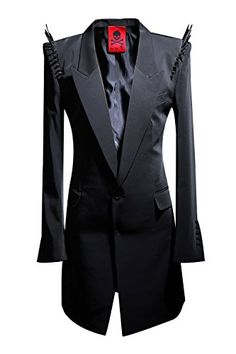 ByTheR Mens Custom Made Stud Black Slim Fit Blazer Jacket